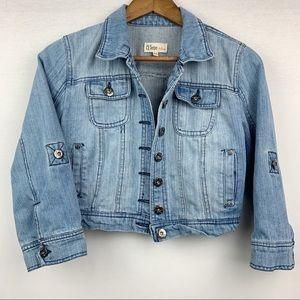 Ci Sono Crop Jean Jacket Button Roll Sleeves